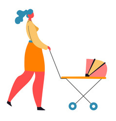 Woman walking with pram mom with kid in buggy vector