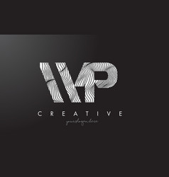 Wp w p letter logo with zebra lines texture vector