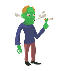 zombie smokes icon cartoon style vector image