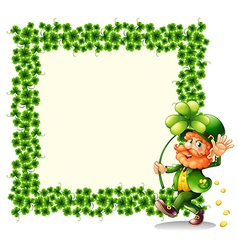A man holding a clover leaf beside a frame made of vector image