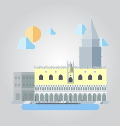 Flat design of Italian building cityscape vector image