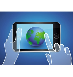 mobile phone with globe icon on the screen vector image