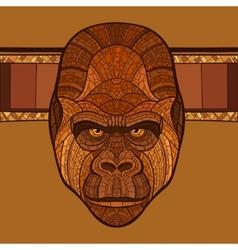 Ape gorilla head with ethnic ornament vector image
