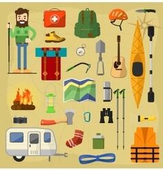 Camping equipment symbols vector image vector image