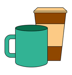 ceramic and paper coffee cup empty template for vector image