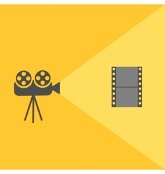 Cinema projector with light and film Flat design vector image