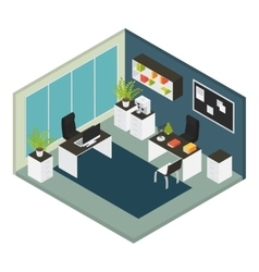 Isometric Interior Office Workplace Composition vector image