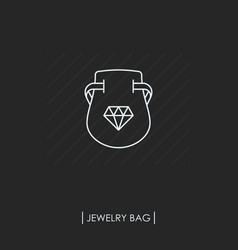 jewelry bag outline icon isolated vector image