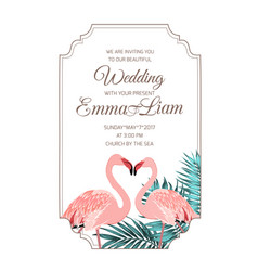 pink flamingos couple wedding invitation frame vector image