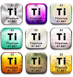 A periodic table button showing the Titanium vector image vector image
