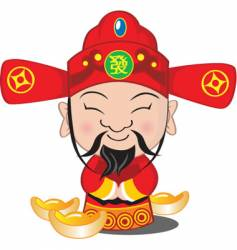 Choy san god of wealth vector image
