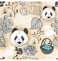 colorful seamless pattern with cute animals and vector image vector image