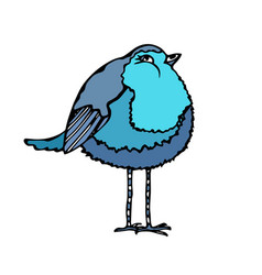cute adorable blue bird isolated on a white vector image