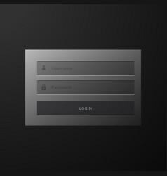 dark black login form user interface template vector image