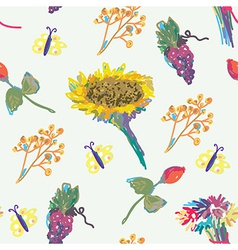 Fall seamless pattern with flower and fruits vector image vector image