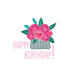 flower in basket happy birthday greeting card vector image