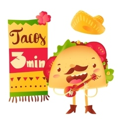 Funny taco character playing guitar special offer vector image vector image