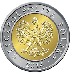 obverse Polish Money five zloty coin vector image vector image
