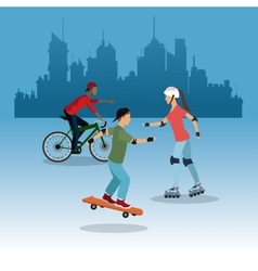 person on bike roller skating city background vector image
