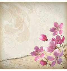 Realistic floral spring grunge background vector