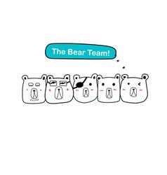 the bear team set of cute bear vector image