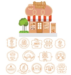 Bakery shop building facade with signboard vector image vector image