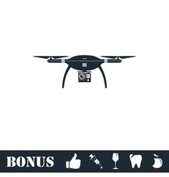 Drone quadrocopter icon flat vector image
