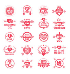 love symbols for wedding day monochrome badges vector image vector image