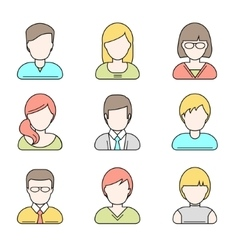 People userpics line icons vector image vector image