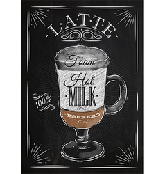 Poster latte chalk vector image vector image