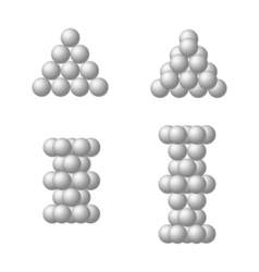 The dense packing of spheres of equal size vector image