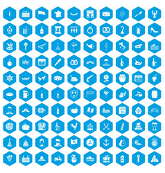 100 alcohol icons set blue vector image