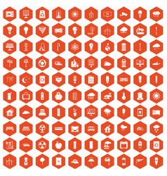 100 windmills icons hexagon orange vector