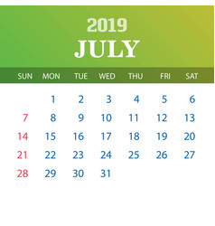 2019 calendar template - july vector image