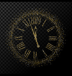 2019 happy new year gold glitter classic clock on vector image