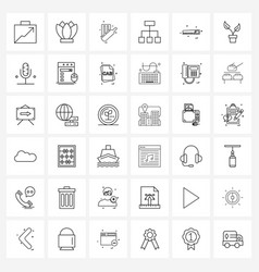 36 universal line icons for web and mobile share vector