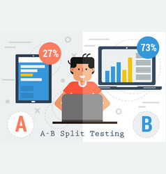 a-b split testing - tablet and computer vector image