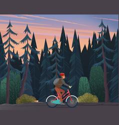 A cyclist rides a bicycle through a dark thick vector