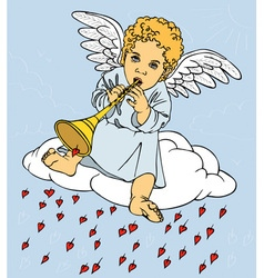angel with pipe on cloud vector image