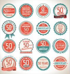 Anniversary retro badges 50 years vector