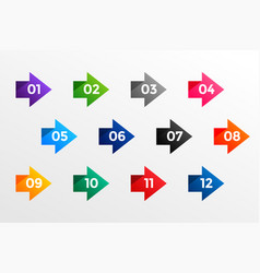 arrow bullet point numbers from one to twelve vector image