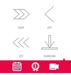 Arrows icons Download left and right signs vector image