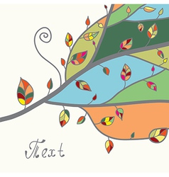 Autumn card with tree and leaves vector image