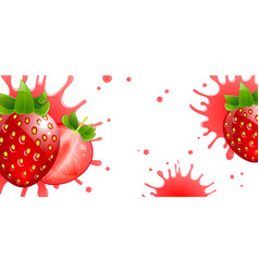 Banner with fresh strawberries and splash juice vector