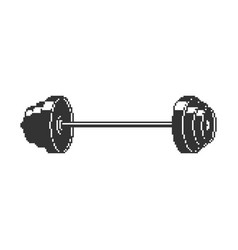 Barbell pixel art 8 bit sport object isolated vector
