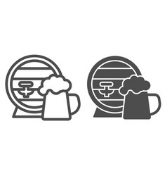 Barrel and mug beer line and solid icon craft vector