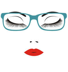 Beautiful close eye with glasses vector