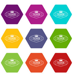 Buckle icons set 9 vector