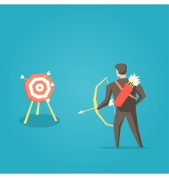 Businessman archer with bow arrows and target vector image