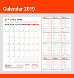 Calendar template for 2019 year business planner vector